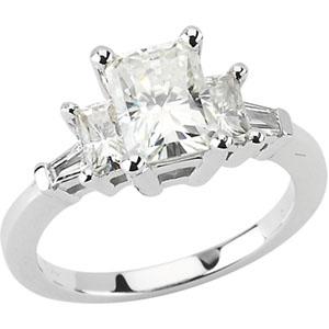 2 CT Moissanite and 1/6 CT Diamond Ring