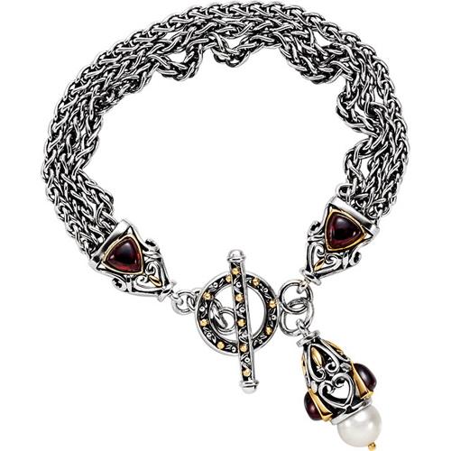 Mozambique Garnet and Cultured Pearl Bracelet