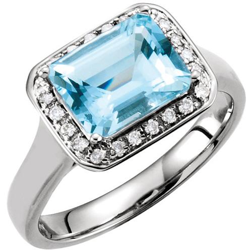 14kt White Gold 2 ct Emerald-cut Aquamarine and Diamond Ring