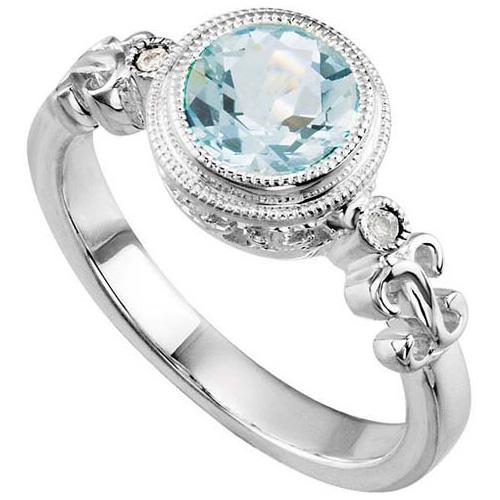 1.1 ct Aquamarine and Diamond Ring
