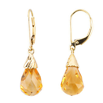 14kt Yellow Gold 8.6 ct Citrine Briolette Drop Earrings