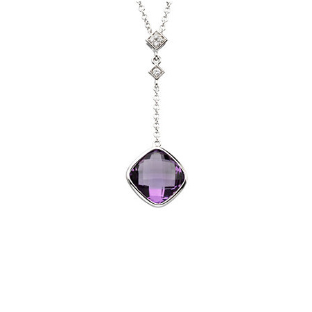 14kt White Gold 3.5 ct Checkerboard Amethyst 18in Necklace with Diamonds