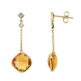14kt Yellow Gold 7.0 ct Square Checkerboard Citrine and Diamond Drop Earrings