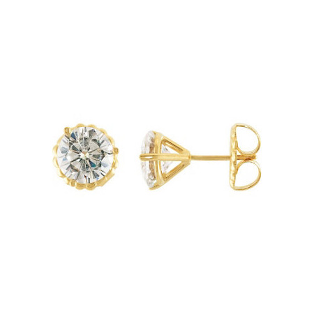 2 CT TW Moissanite Stud Earrings - 14kt Yellow Gold