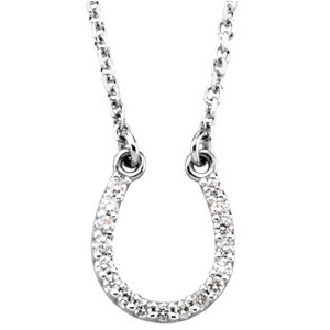 14kt White Gold Diamond Horseshoe 16in Necklace