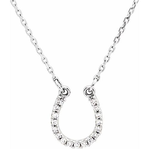 14kt White Gold Diamond Horseshoe 16in Necklace