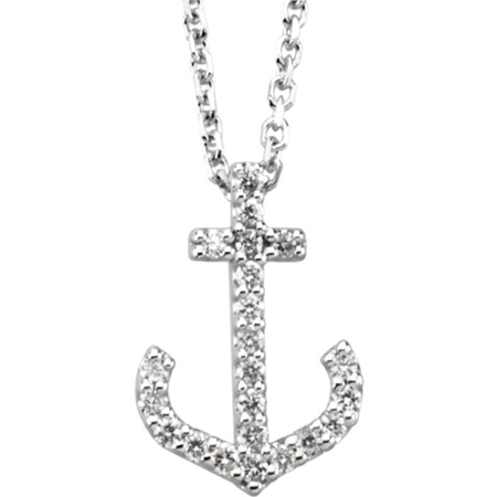 14kt White Gold 1/6 ct Diamond Anchor 16in Necklace