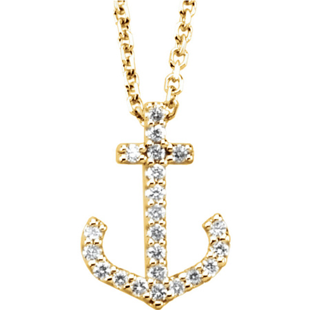 14kt Yellow Gold 1/6 ct Diamond Anchor 16in Necklace