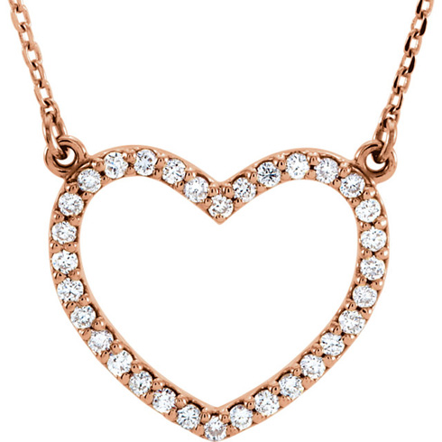 14kt Rose Gold 1/4 ct Diamond Small Heart Necklace