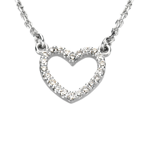14kt White Gold 1/8 ct Diamond Petite Heart 16in Necklace