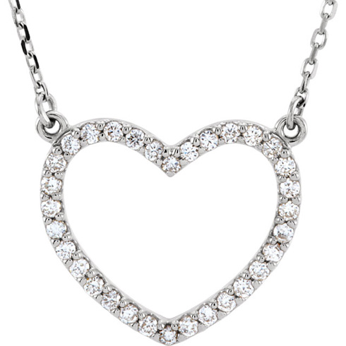 14kt White Gold 1/4 ct Diamond Small Heart Necklace