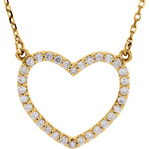 14kt Yellow Gold 1/4 ct Diamond Small Heart Necklace