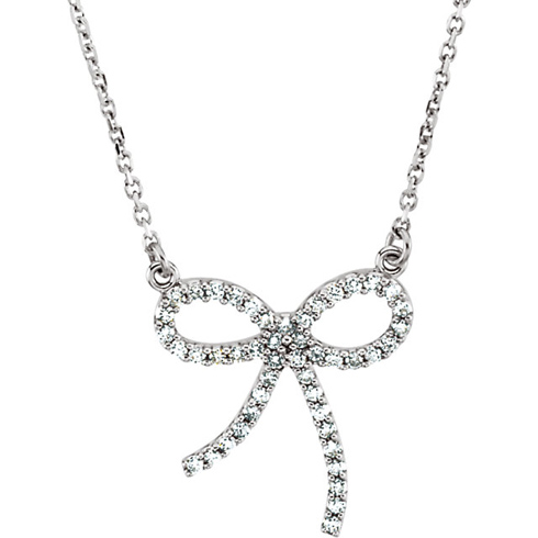14kt White Gold 1/4 ct Diamond Bow 16in Necklace