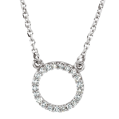14kt White Gold 1/10 ct Diamond Circle 16in Necklace