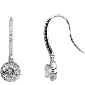 1 1/2 CT Moissanite and 3/8 CT Diamond Earrings