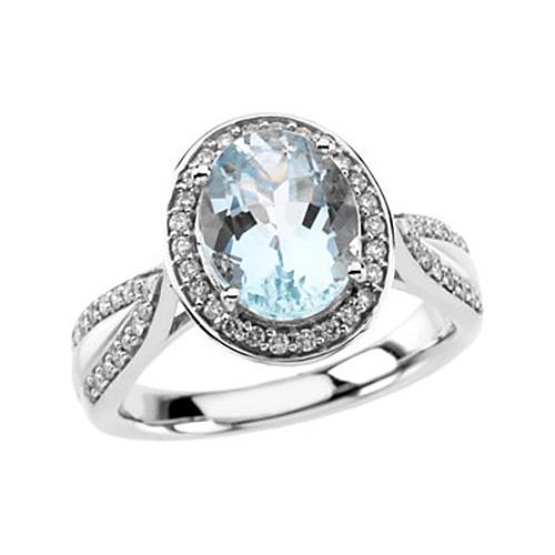 14kt White Gold 2.1 ct Oval Aquamarine and 3/8 ct Diamond Ring