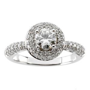 1/2 CT Moissanite and 1/2 CT Diamond Ring