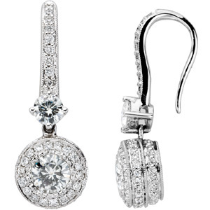 14kt White Gold 2/3 CT Moissanite and 1/2 CT Diamond Earrings