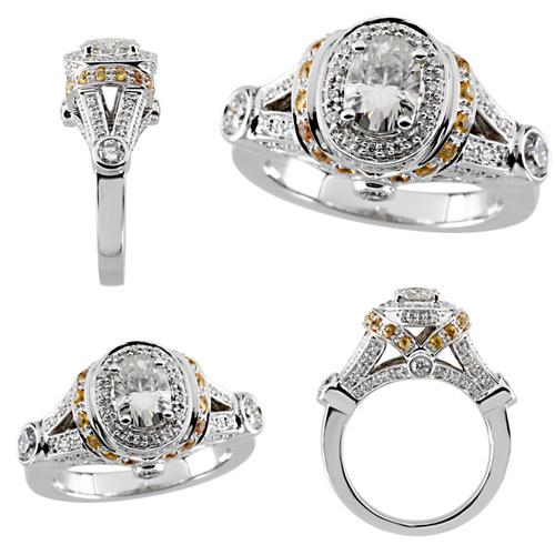 9 10 Ct Moissanite Yellow Sapphire And Diamond Ring
