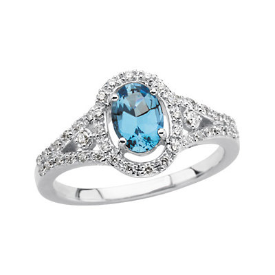 14kt White Gold 3/4 ct Oval Aquamarine and 1/4 ct Diamond Ring