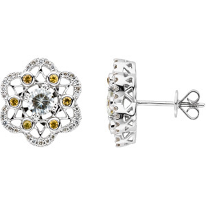 2/3 CT Moissanite and 1/4 CT Diamond Earrings
