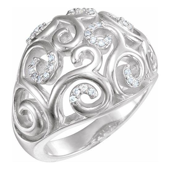 Sterling Silver 1/6 ct tw Diamond Filigree Scroll Ring