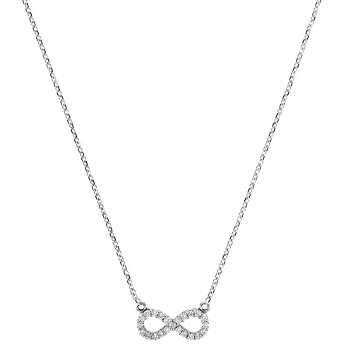 14kt White Gold 1/8 ct tw Diamond Infinity Necklace