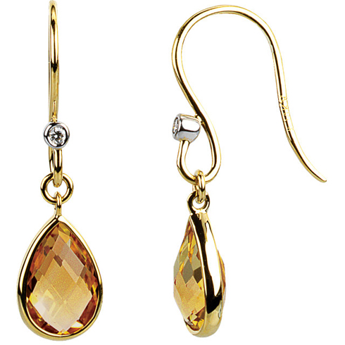 14kt Yellow Gold 2.4 ct Pear Citrine and Diamond Earrings