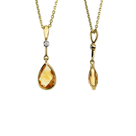 14kt Yellow Gold Citrine & Diamond Drop Pendant