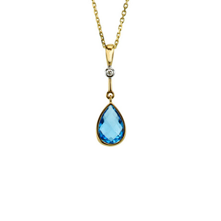 14kt Yellow Gold Swiss Blue Topaz & Diamond Drop Pendant