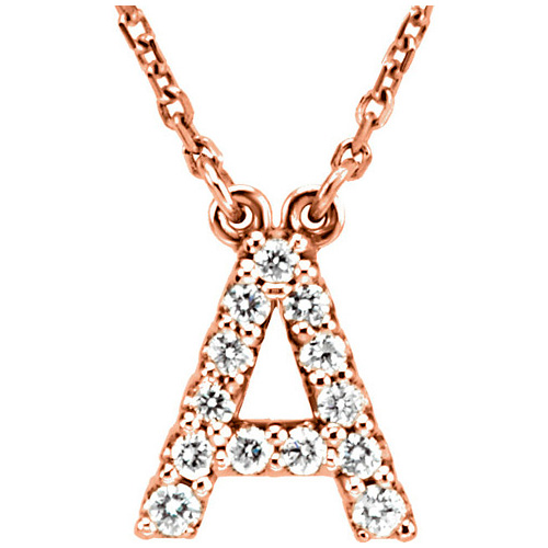 14kt Rose Gold Letter A 1/8 ct Diamond 16in Necklace
