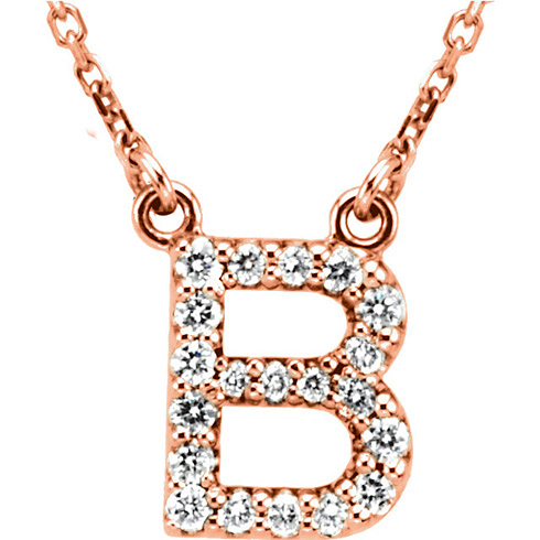 14kt Rose Gold Letter B 1/6 ct Diamond 16in Necklace