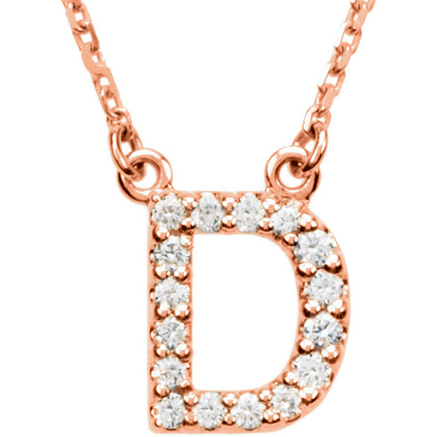 14kt Rose Gold Letter D 1/6 ct Diamond 16in Necklace