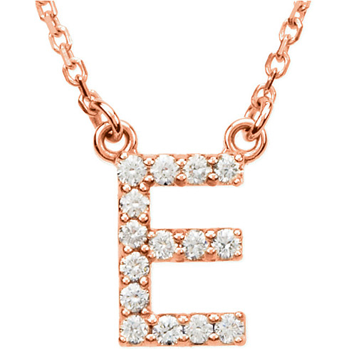 14kt Rose Gold Letter E 1/6 ct Diamond 16in Necklace