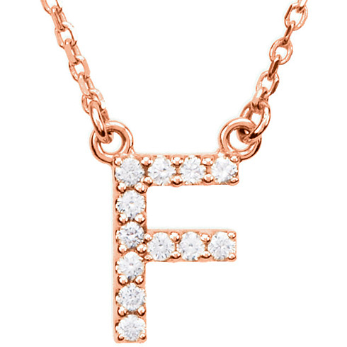 14kt Rose Gold Letter F 1/8 ct Diamond 16in Necklace