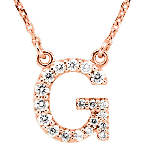 14kt Rose Gold Letter G 1/6 ct Diamond 16in Necklace