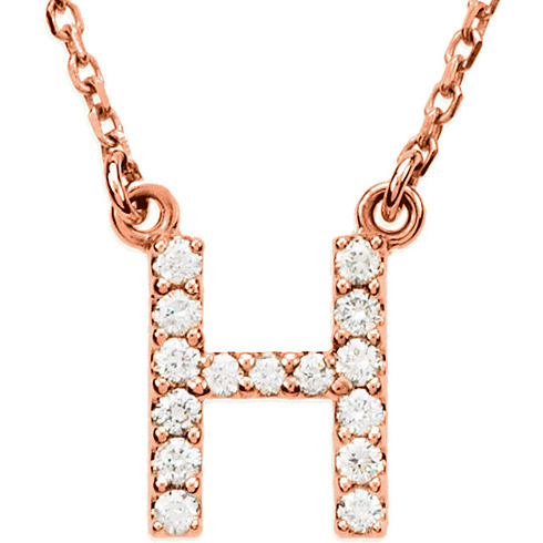 14kt Rose Gold Letter H 1/6 ct Diamond 16in Necklace