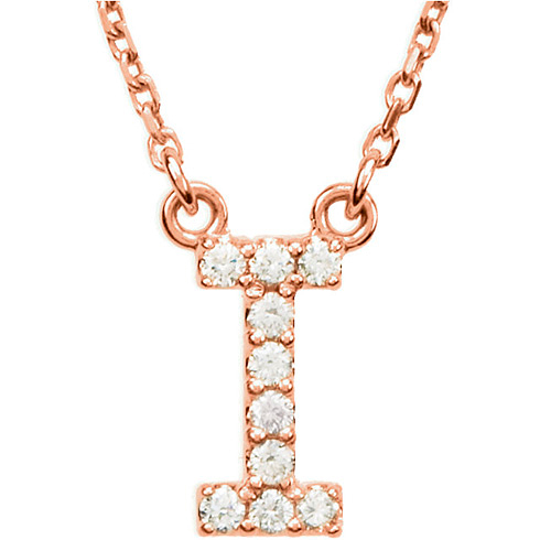 14kt Rose Gold Letter I 1/10 ct Diamond 16in Necklace