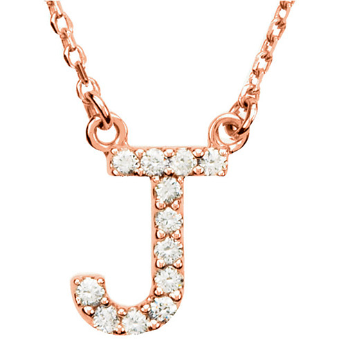 14kt Rose Gold Letter J 1/8 ct Diamond 16in Necklace