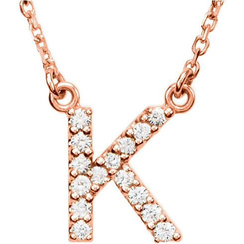 14kt Rose Gold Letter K 1/8 ct Diamond 16in Necklace