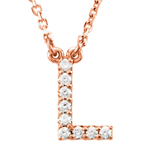 14kt Rose Gold Letter L 1/10 ct Diamond 16in Necklace