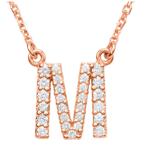 14kt Rose Gold Letter M 1/5 ct Diamond 16in Necklace