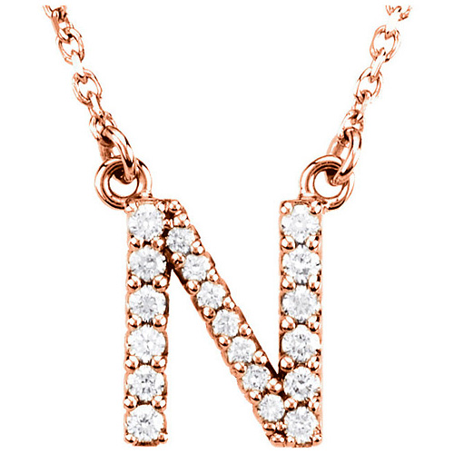 14kt Rose Gold Letter N 1/6 ct Diamond 16in Necklace