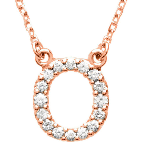 14kt Rose Gold Letter O 1/6 ct Diamond 16in Necklace