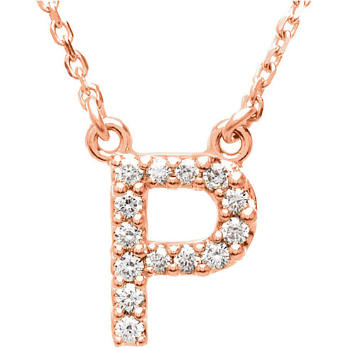14kt Rose Gold Letter P 1/8 ct Diamond 16in Necklace