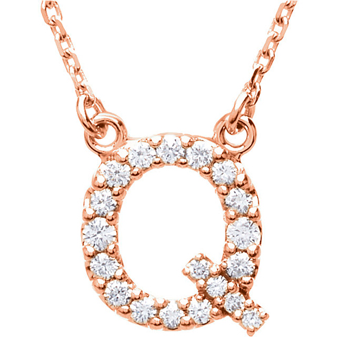 14kt Rose Gold Letter Q 1/6 ct Diamond 16in Necklace