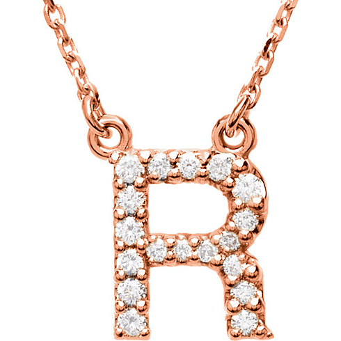 14kt Rose Gold Letter R 1/6 ct Diamond 16in Necklace