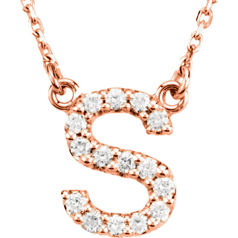 14kt Rose Gold Letter S 1/6 ct Diamond 16in Necklace
