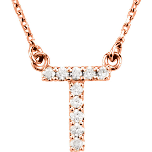 14kt Rose Gold Letter T 1/10 ct Diamond 16in Necklace