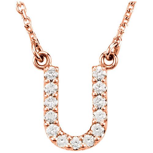 14kt Rose Gold Letter U 1/8 ct Diamond 16in Necklace